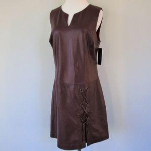 NWT Red Leather Drop Waist Lace Up Sheath Dress 4